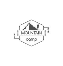 Vintage mountain camping badge outdoor logo vector