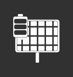 White icon on black background solar panel vector