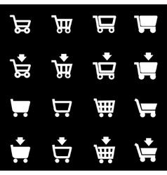 white shopping cart icon set vector image