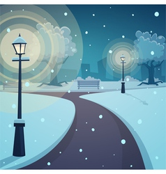 Winter night in the park vector