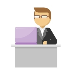 Working Person Web Banner Man Work with Notebook vector image