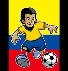 Colombia soccer player with flag background vector