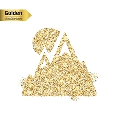 Gold glitter icon of alps isolated on vector