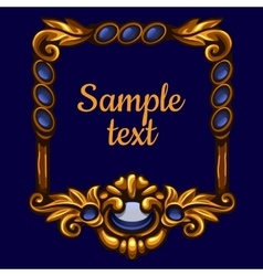 Golden frame with text on a blue background vector image