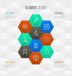 Medicine outline icons set collection of medic vector