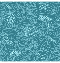 Asian pattern with dragon background vector image