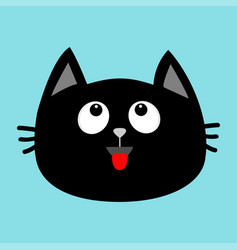 black cat head face icon looking up red tongue vector image vector image