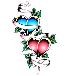 Double heart tattoo design vector