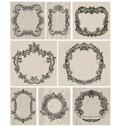 Set of vintage frames and design elements vector image