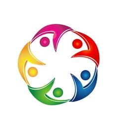 Swooshes business teamwork logo vector image vector image