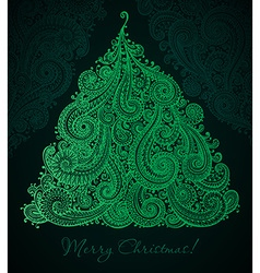 Christmas greeting card with beautiful hand drawn vector image