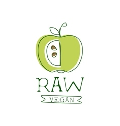 Fresh Vegan Food Promotional Sign With Green Apple vector image vector image