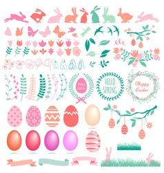 Happy Easter set of design elements vector image vector image
