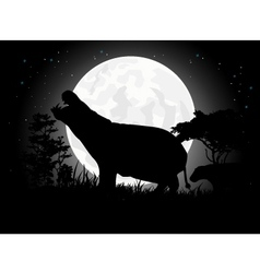Hippo silhouette with giant moon background vector image