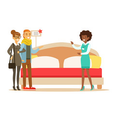 store seller demonstrating king size bed to couple vector image vector image