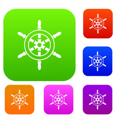 wheel of ship set collection vector image vector image