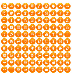 100 hand icons set orange vector