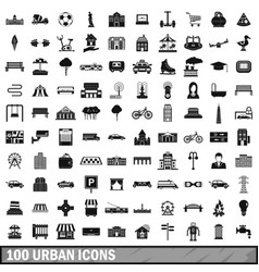 100 urban icons set simple style vector