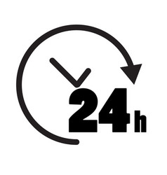 24 hours icon on white background open 24 hours vector image