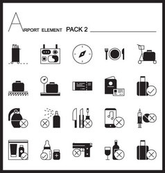 Airport Element Line Icon Set2Mono graph pack vector