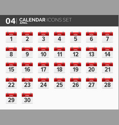 april calendar icons set date and time 2018 vector image