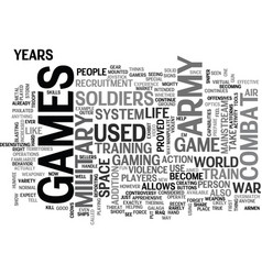 army games text word cloud concept vector image