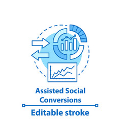assisted social conversions concept icon vector image
