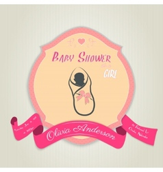 Baby shower invitation with baby girl vector