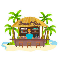 beach bar travell palm drink summer lounge vector image
