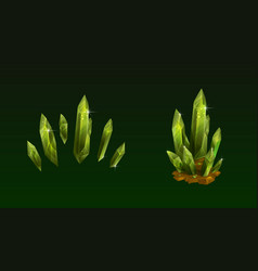 Beautiful green crystals set shiny magic emerald vector