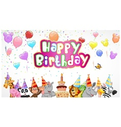 Birthday background with happy animals vector