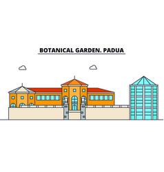 Botanical garden padua line travel landmark vector