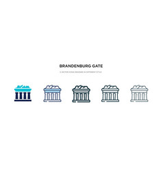 Brandenburg gate icon in different style two vector