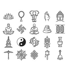 Buddhism religion linear icons and symbols vector