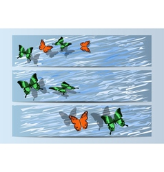 bunners with butterfly vector image