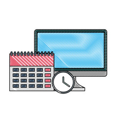 business office computer calendar clock time vector image