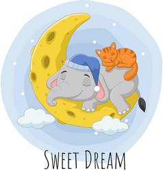 Cartoon elephant and cat sleeping on moon vector