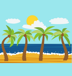 cartoon nature landscape with four palms vector image