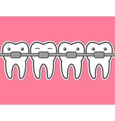 Cartoon tooth braces vector