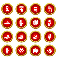 Charity icon red circle set vector