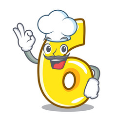 Chef cartoon number six on the road vector