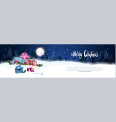 Christmas banner with nigth winter forest gift vector