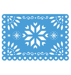 christmas papel picado design- snowflake vector image