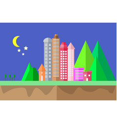 city icon night time and moon in the sky vector image