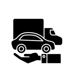 Company owned vehicles black glyph icon vector