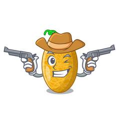 Cowboy fresh honeydew melon on cartoon table vector