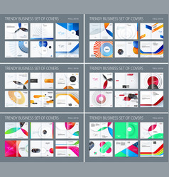 Design set of abstract double-page brochure with vector