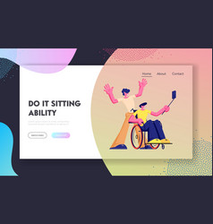 Disabled handicapped man wheelchair making selfie vector
