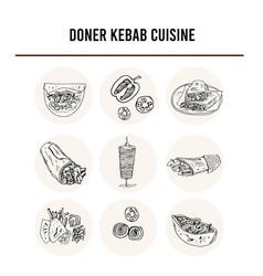 donner kebeb cuisine menu doodle icons vector image
