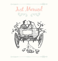 drawn bride groom carriage sketch vector image